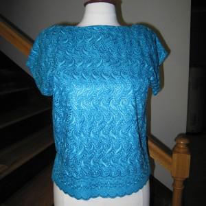 Blue Silk Lace Blouse