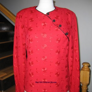 Red Silk Oriental Blouse