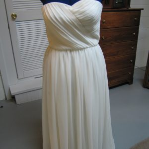 Silk Chiffon Dress with Hand-pleated Bodice